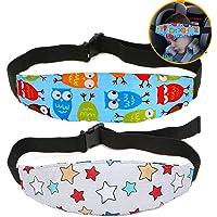 Naropox Soporte del cuello de la cabeza del asiento de seguridad para bebés, Asiento de coche ajustable Banda Posicionador del Sueño del Asiento de Seguridad para Niños (2 Paquetes)