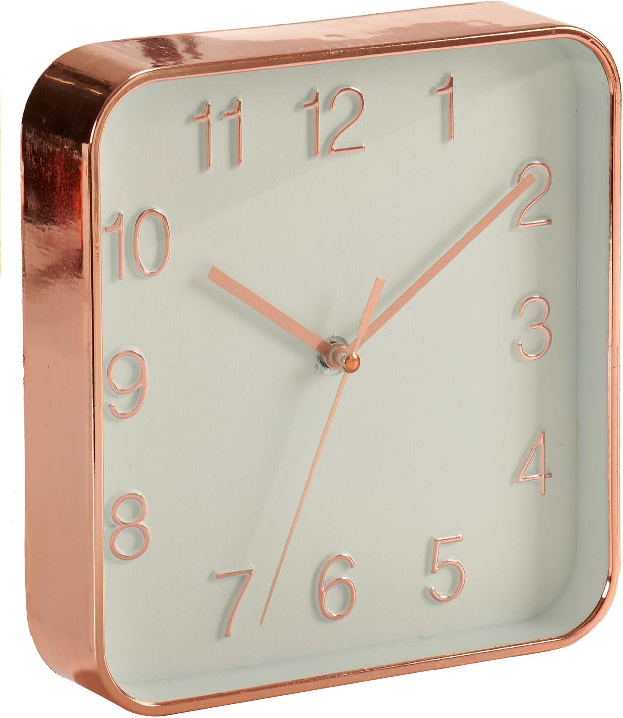 AR Horloge Murale Forme carr/ée Design m/étallis/é 18 x 18 cm