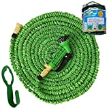 75' PINOCCHI HOSE: The Expandable Garden Hose. Flexible Pocket Hose. Top Quality Brass Fittings with Reinforced Connection = NO LEAKS!