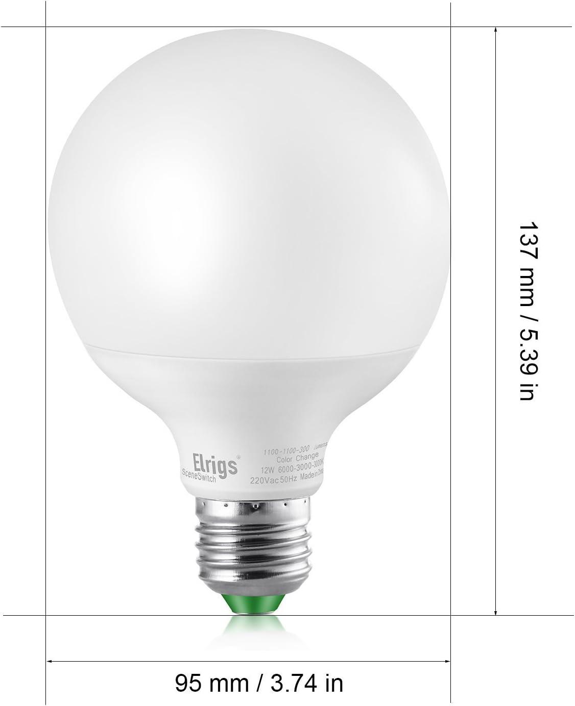Elrigs 3 in 1 E27 Globe LED Lampe, Dimmen ohne Dimmer, 12W