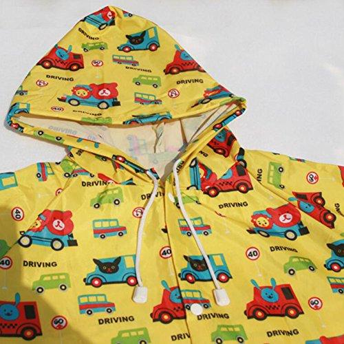 Highdas Kid Boys & Girls Regenboot Regen Schuhe Wasserdichte Stiefel PVC Rosa Erdbeere / 15cm Gelber Bus