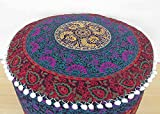 Ekavya Bohemian Round Large Pouf Ottoman Mandala Footstool Round Floor Pillow Ottoman Living Room Indian pouf Cover Throw 24'' By
