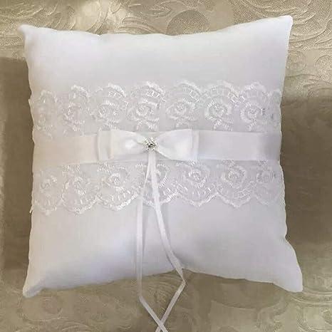 Matrimonio romantico pizzo cuscino dellanello nuziale gemme perle artificiali anello dellammortizzatore del cuscino portatore con nastri bianchi