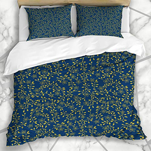 Ahawoso Duvet Cover Sets Queen/Full 90x90 Vine Mini Small Floral Pattern Navy Flower Plant Autumn Swatch Gold Design Microfiber Bedding with 2 Pillow Shams