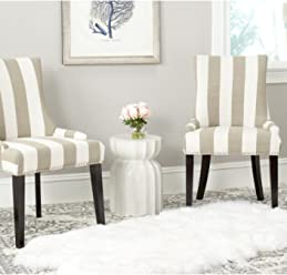 Safavieh Mercer Collection Lester Dining Chair Olive And White Stripe Set Of 2