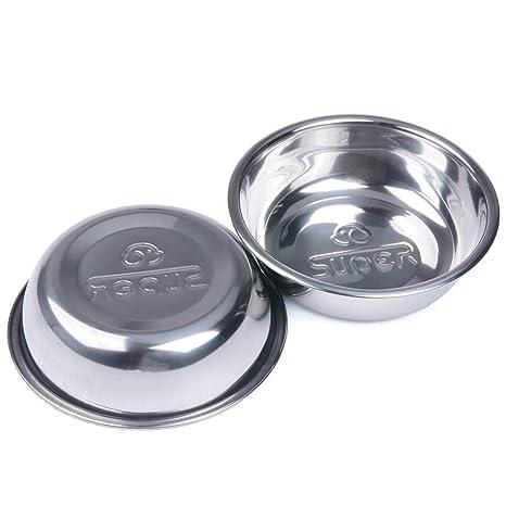 Superdesign El plato de comida de perro tazón de acero inoxidable + Cat Paquete Conjunto de 2 perros y gatos