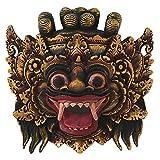 NOVICA Protection Wood Mask, Gold Tone 'Bali Barong'