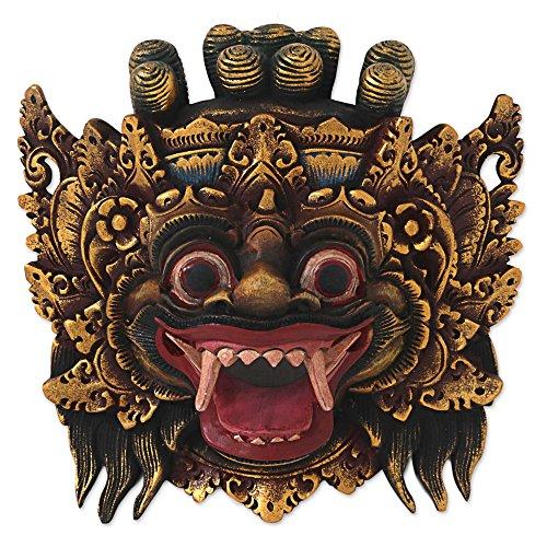 (NOVICA Protection Wood Mask, Gold Tone 'Bali Barong')