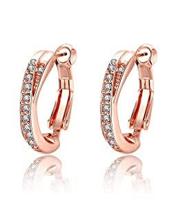 Hoop Earrings,Maxilei 14K Rose Gold Plated Double Hoops,Rhinestone Crystal Cubic Zirconia Hypoallergenic Huggie Hoops For Women Girls