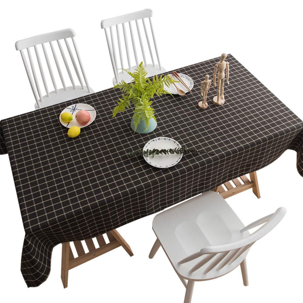 Baumwolle Und Leinen Tischdecke Wasserdicht Couchtisch Tischdecke Schwarz Gitter Rechteck,140  200Cm B07K1482YW Tischdecken Spielzeugwelt, spielen Sie Ihre eigene Welt  | Eleganter Stil