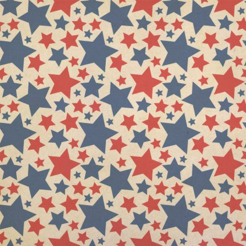 (Patriotic Red and Blue Stars are Shining Kraft Present Gift Wrap Wrapping Paper)