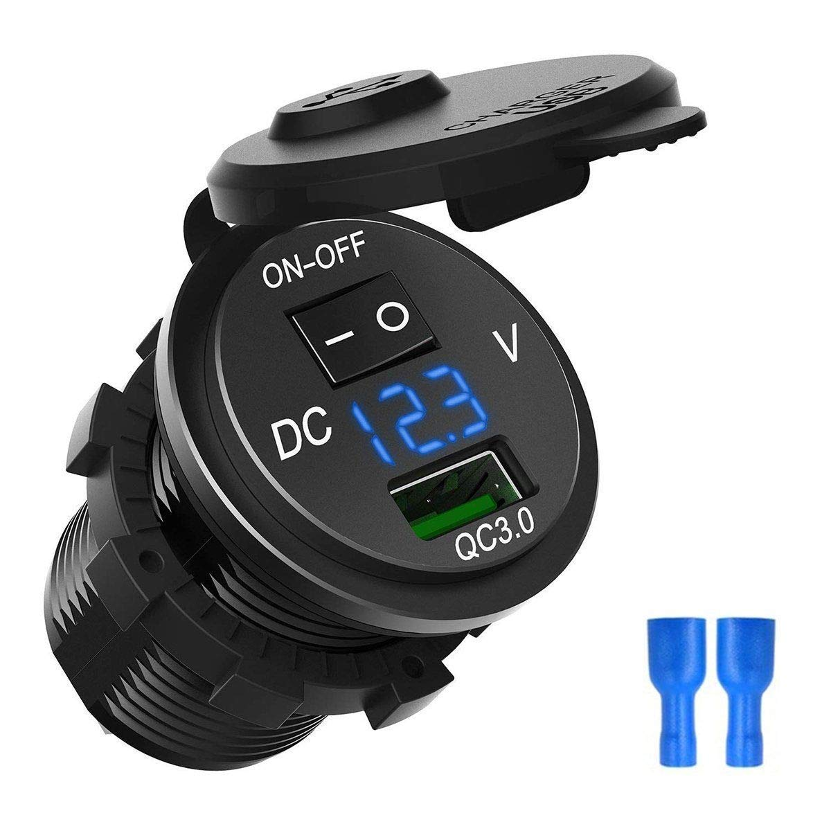 ZYTC Waterproof QC3.0 Car Charger USB Outlet Socket 12V//24V Green LED Digital Voltmeter with On//Off Switch for Car Boat Motorcycle Marine