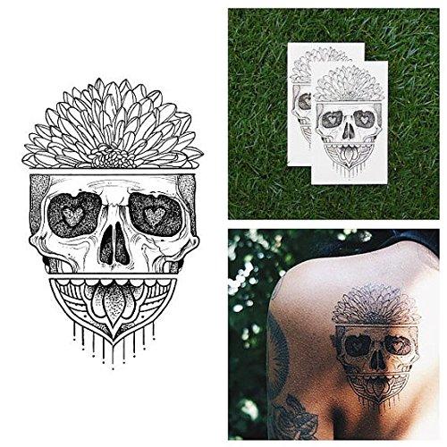Tatuaje Temporal Tattify - Calavera con Margarita - El Amor es ...