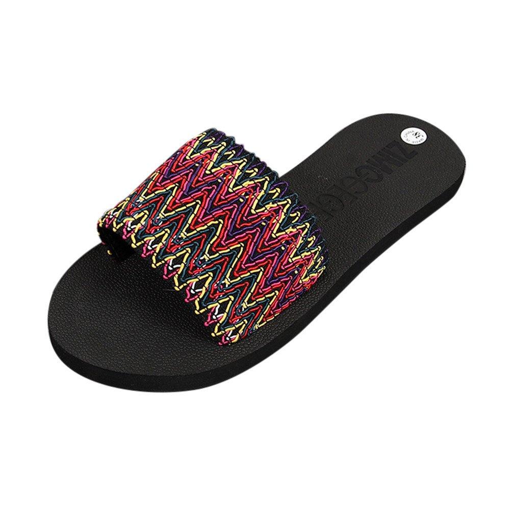 Flip Flops Casual da Donna, Honestyi Ciabatte Donna Stile Nazionale Pan di Spagna Intrecciato con Ciabatte Piatte Sandali Pantofole da Casa Infradito Donna Scarpe da Spiaggia Rosso