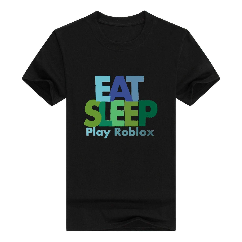 Atoyyre S Black Casual Eat Sleep Play Roblox Logo Short Sleeve Graphic Shirts