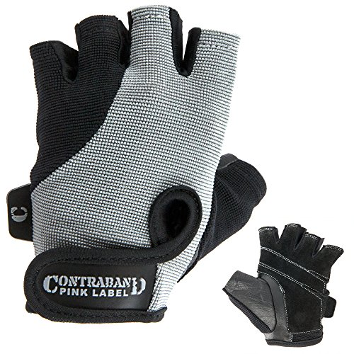 Contraband Pink Label 5057 Womens Basic Lifting Gloves (Pair) - Light-Medium Padded Durable Leather Palm Fingerless Classic Workout Gloves Designed & Sized for Women (Gray, Medium) ()