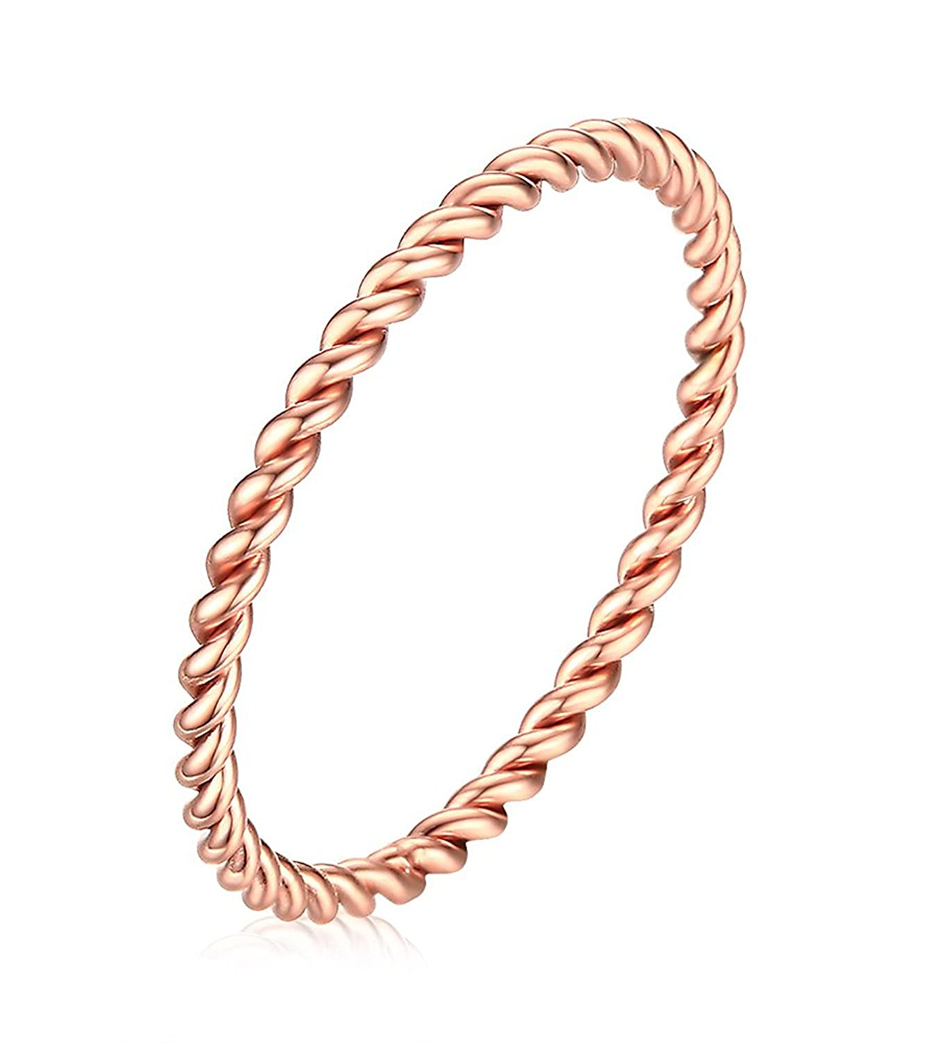1.5mm Stainless Steel French Rope Wedding Ring for Women,Rose Gold Plated Size 5-7 JAJAFOOK VX0818014