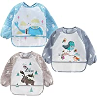 3-piece long sleeve baby bib, baby waterproof bib (with pocket and debris collector), toddler soft bib, washable stains…