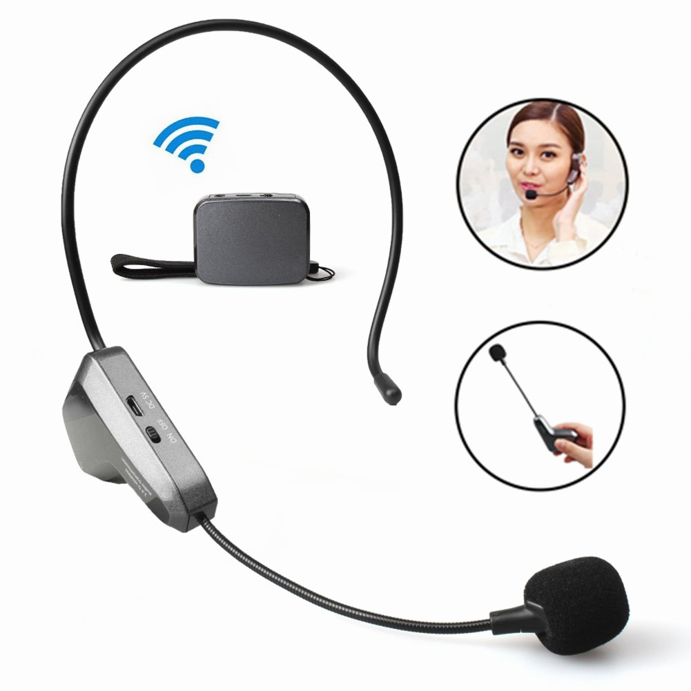 Wireless Microphone Professional 2.4G Headset Mic, Hands Free Lightweight Headworn Mic or Handheld Vocal Mic for Leaders Business Meeting, Fitness, Teaching, Guides, Organizers, Promotion(black)