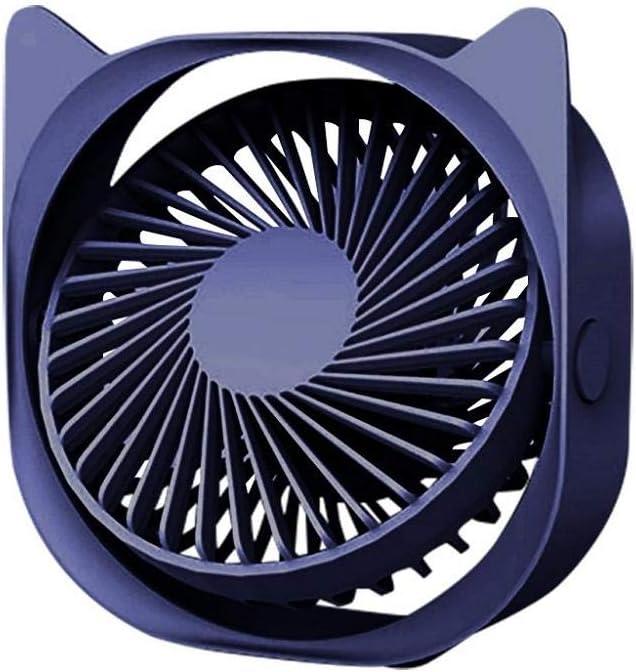 VJGOAL Ventilador de Mesa Silencioso Portátil Recargable USB Mini Ventilador de Sobremesa Viento de 3 Velocidades Aajustable (Azul)