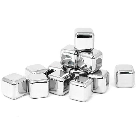 COM-FOUR® Juego de cubitos de hielo de acero inoxidable de ...