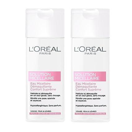 LOréal Paris agua micelar limpiadora facial Sensible Piel Seca - Conjunto de 2 x