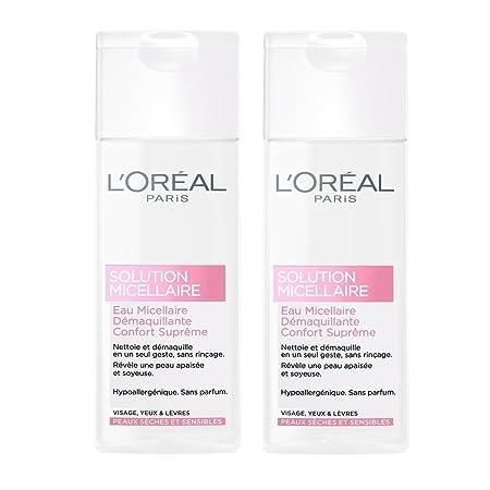 LOréal Paris agua micelar limpiadora facial Sensible Piel Seca - Conjunto de 2 x 200 ml: Amazon.es: Belleza