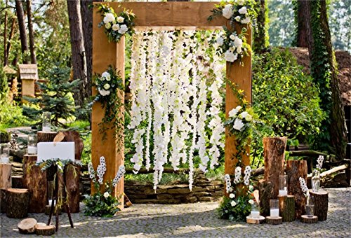 CSFOTO 7x5ft Background for Wedding Ceremony Arch Rustic Style Wedding Decoration Photography Backdrop Outdoors White Flower Romantic Artistic Anniversary Photo Studio Props Polyester Wallpaper