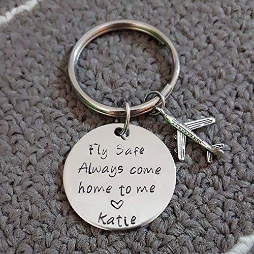Fly Safe Key Chain with Airplane, Always Come Home to Me, Handstamp, Pilot Gift, Captain Be Safe Gift by JessicaHandmade