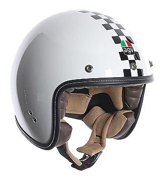 AGV RP60 – Casco de Moto, Diseño de cuadros, color blanco y negro Blanco