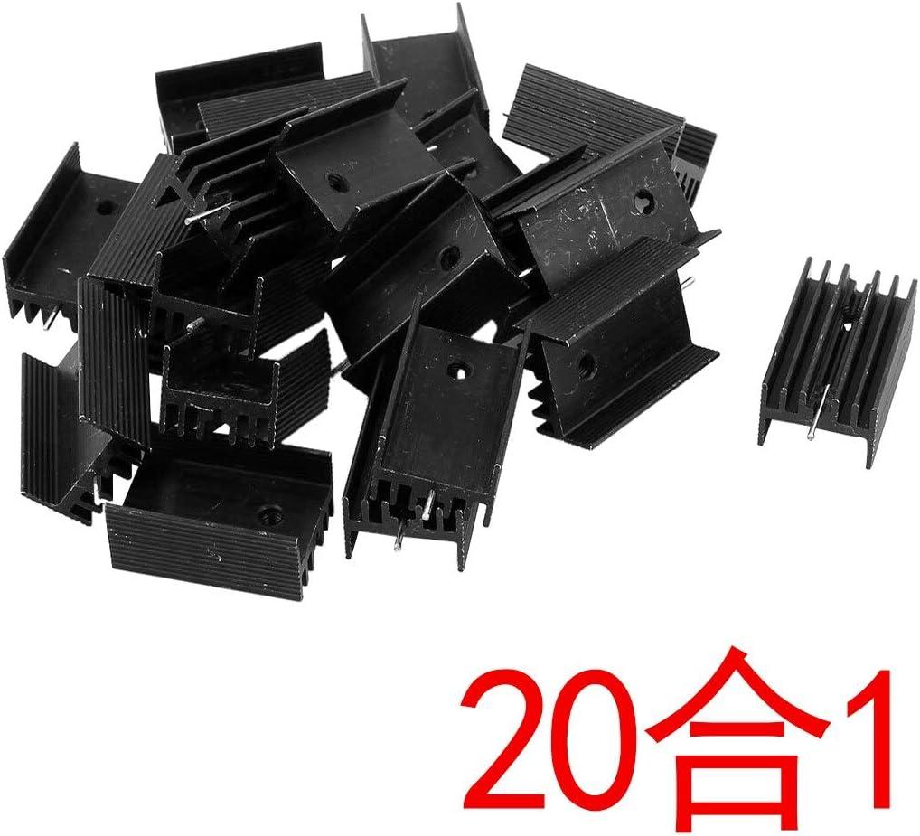 20x Black Aluminum Cooler Heat Sink Heatsink 25x15x10mm for TO-220 IC Cacys-Store