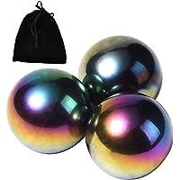 ثلاث كرات قوس قزح مغناطيسية مع حقيبة من نيكو سي ووندر مقاس 1.34 انش 34 ملم من الهيماتيت المغناطيسي على شكل بيضة افعى.