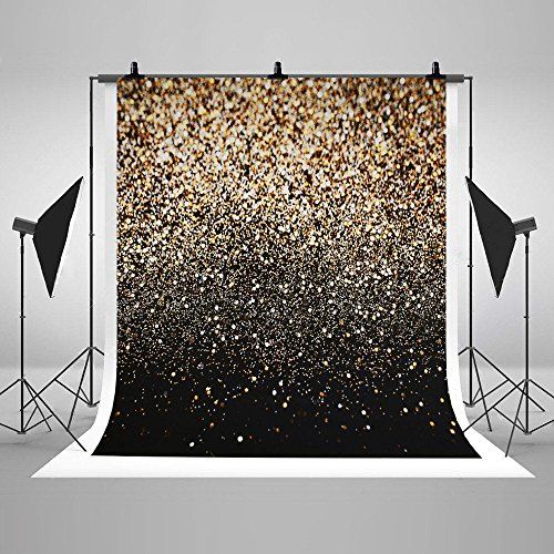 Display Blue Dot (5x7ft Muslin Cotton Thick Navy Blue Gold Dots Photography Studio Backdrop Background Without Crease)