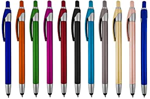 Stylus for Touch Screens Pen with Ball Point Pen,for Universal Touch Screen Devices, for Phones, Ipads,Tablets, iPhone, Samsung Galaxy etc,Assorted Colors (12 Pack)