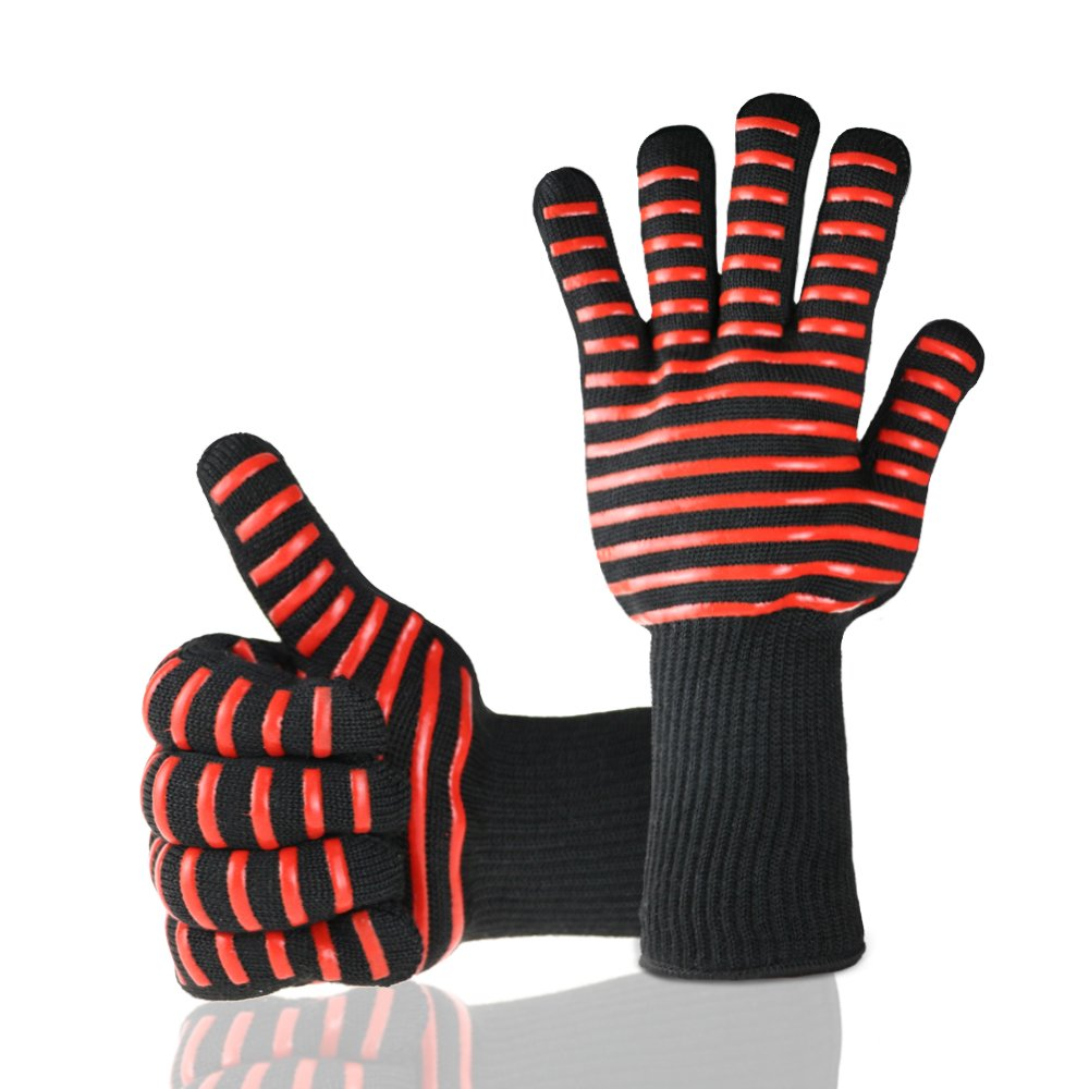 Happytimelol Set of 2 BBQ Grilling Gloves Heat Resistant Oven Mitts Heat Resistant up to 932°F by Happytimelol