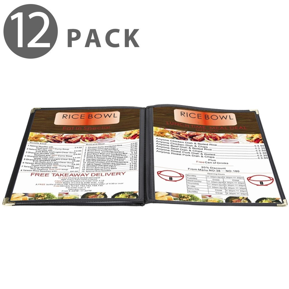 Flexzion Menu Cover 8.5x11 inch Black (12 Pack) Triple Fold Book Style Holder with 3 Page 6 View Protective Corner For Restaurant Hotel Deli Cafes Bars Pubs