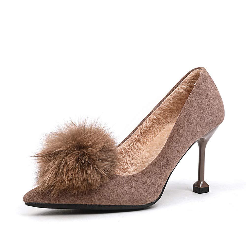 UENGF High Heel Heel Heel Leder Slip On Pumps Damen Winter  Allgleiches Pumps Schuhe Damen Gentledamen High Heels 4c4bd0