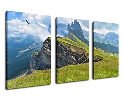 Yearainn Canvas Art Nature Painting Framed Ready To Hang 60 X 30 3 Piece Canvas Prints Large Landscape Painting Artwork Mountain Cliff Artwork For