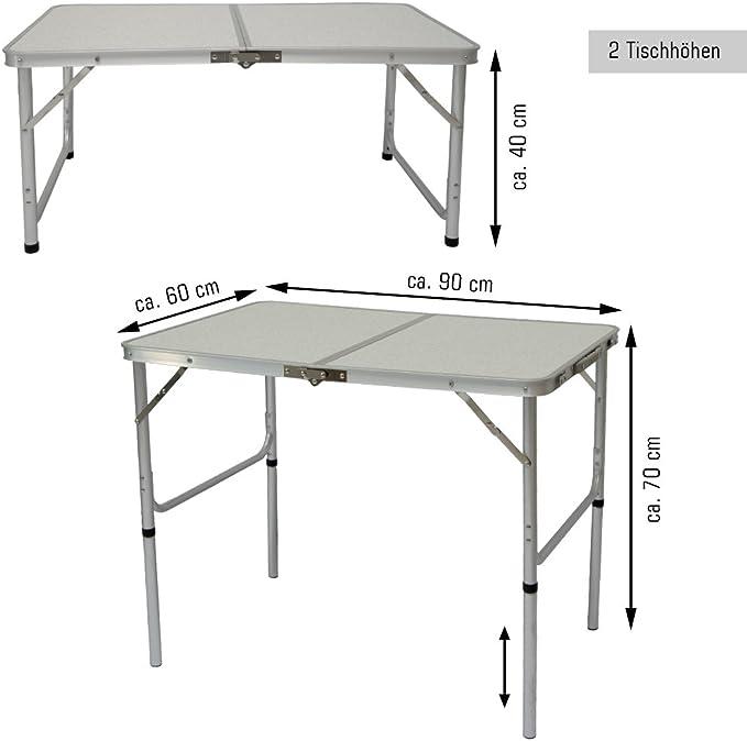 Tavolo Tavolino Alluminio Pieghevole da Campeggio Picnic 90x60cm con 2 Sgabelli