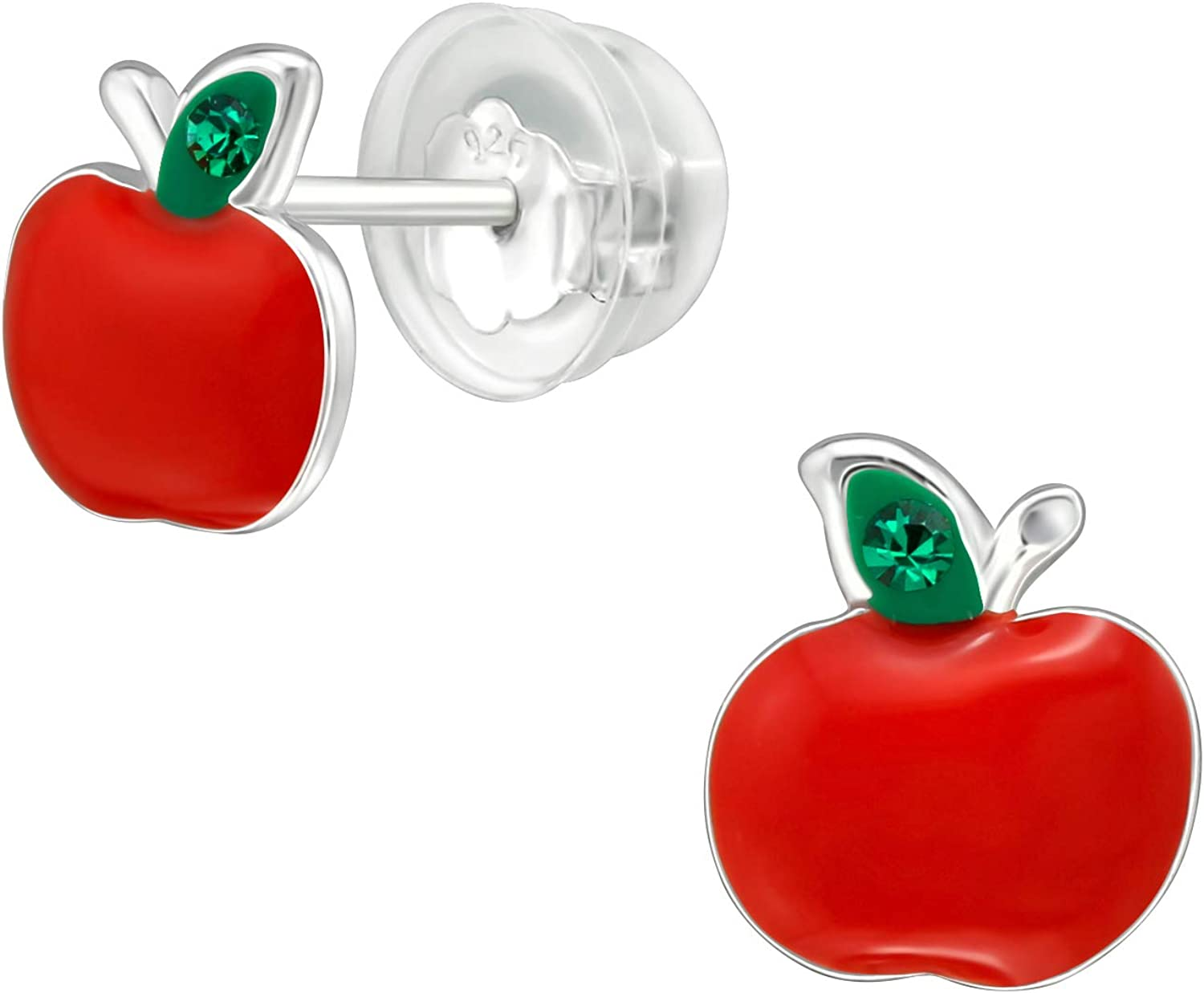 AUBE JEWELRY Hypoallergenic 925 Sterling Silver Snow White Red Apple Fruit Stud Earrings Adorned with Crystal with Silicone Coated Push Backs for Girls and Women
