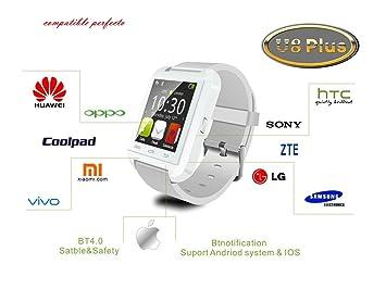 FLYSHOP®U8 Plus whatsapp smartwatch Reloj inteligente táctil compatible con Android e iOS Bluetooth 4.0 (Blanco): Amazon.es: Electrónica