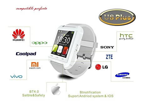 FLYSHOP®U8 Plus whatsapp smartwatch Reloj inteligente táctil compatible con Android e iOS Bluetooth 4.0