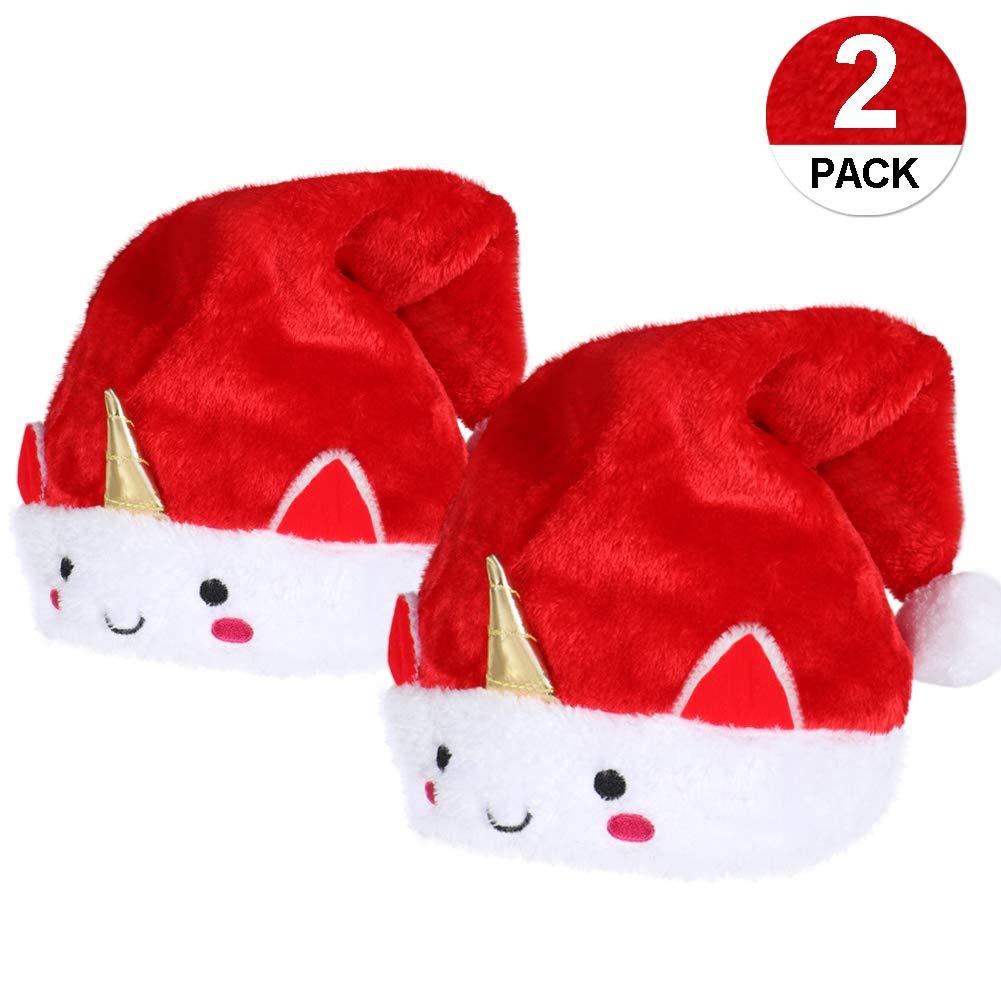 VAMEI 2pcs Bonnet Noel Chapeau de Père Noël Adultes en Grande Taille De  Luxe Costume de 162674c9c740