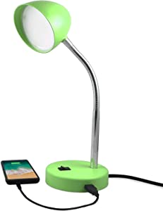 MaxLite LED Desk Lamp with USB Charging Port, Green Desk Lamp, Adjustable Neck, On/Off Switch, Modern Table Lamp for Reading, Work or School, Warm Gentle Light