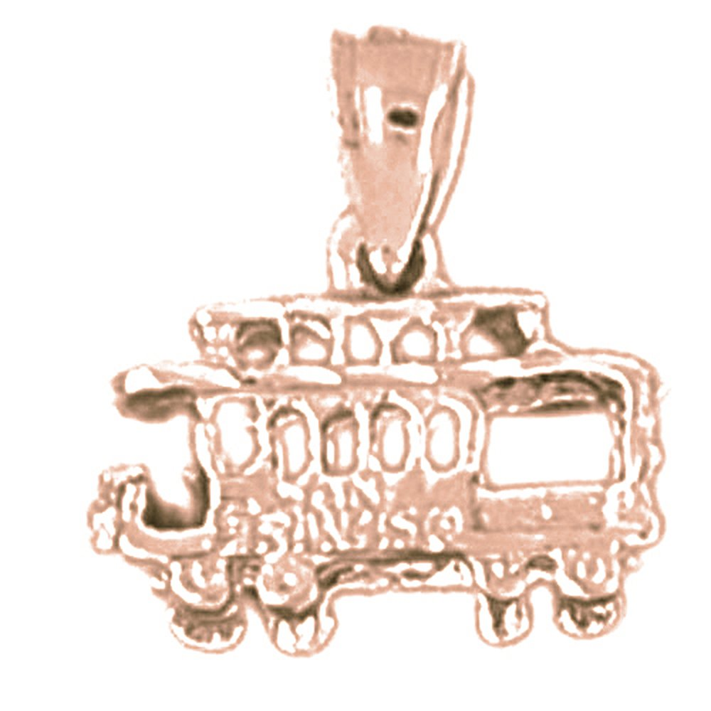 Jewels Obsession 3D Trolly Necklace 14K Yellow Gold-plated 925 Silver 3D Trolley Pendant with 18 Necklace