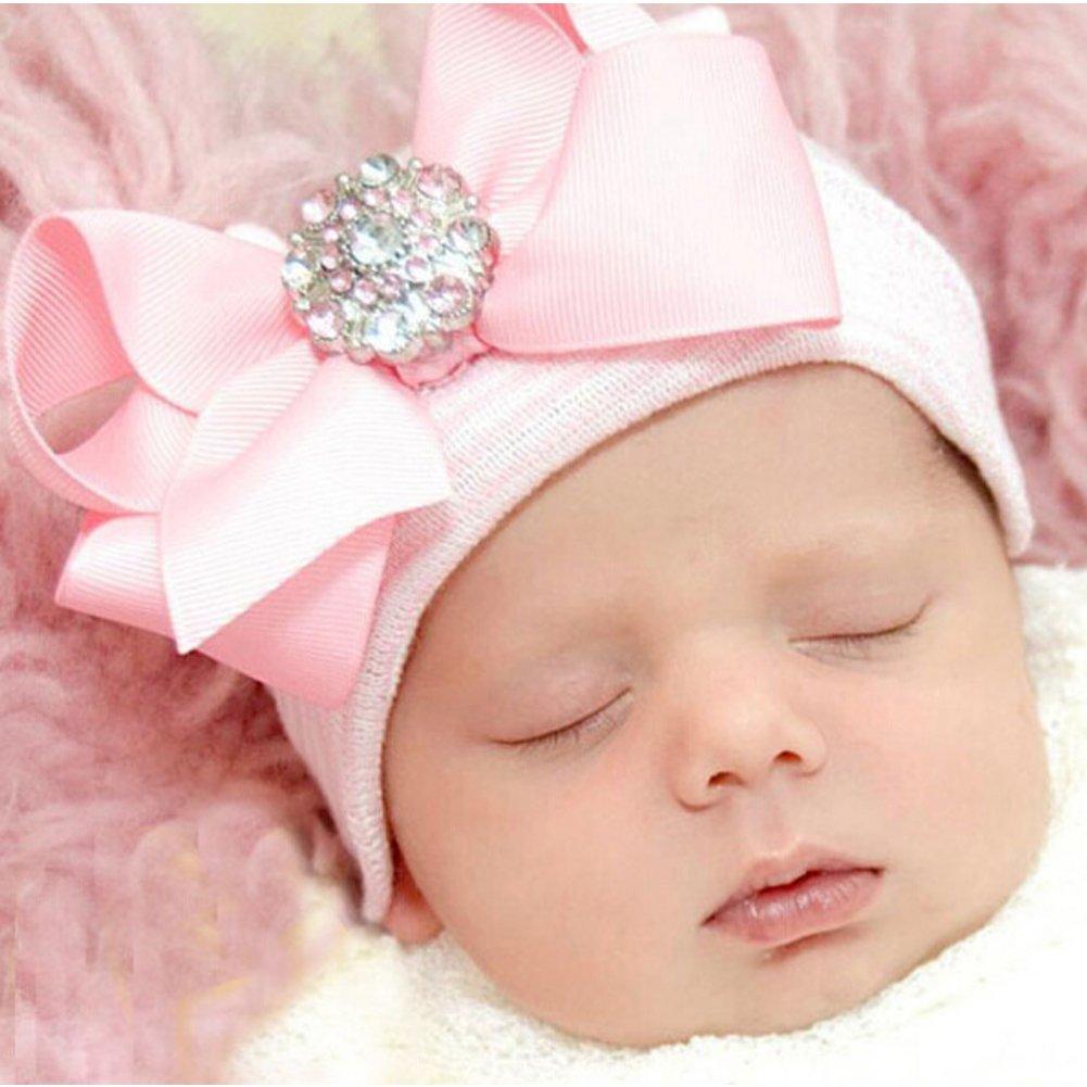 DRESHOW BQUBO Newborn Hospital Hat Infant Baby Hat Cap Big Bow Nursery Beanie