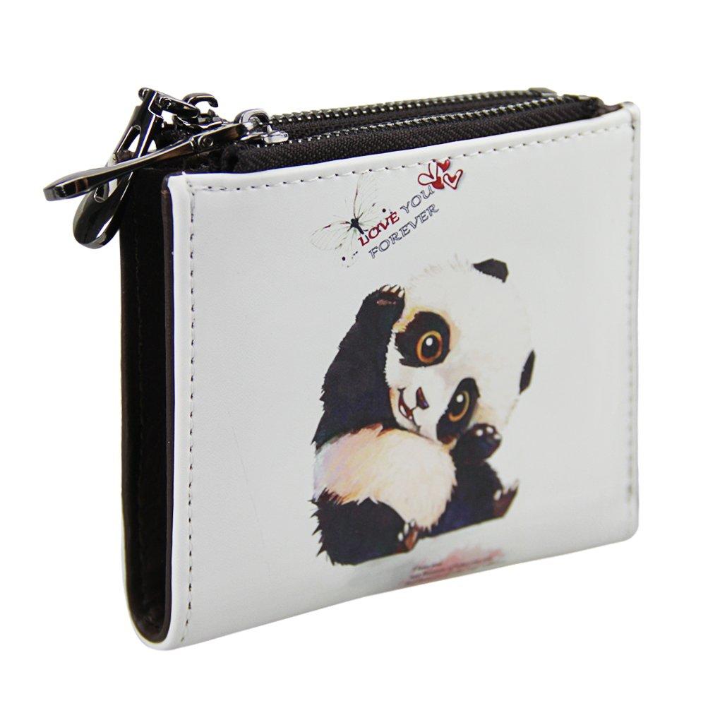 Teen Girls Kids Cute Cartoon Panda PU Leather Short Bi-fold Mini Wallet Small Card Cash Purse Case Holders Coin Pouches Money Clip