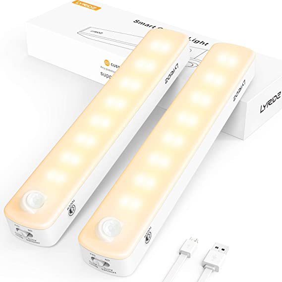 Under Cabinet Light Lyridz 2500mah Rechargeable Motion Sensor Closet Light 2 260lm Led Warm White Dimmable Lighting 3 Modes Stick On Magnetic Strip For Kitchen Wardrobe Hallway Garage 2 Pack Amazon Ca Tools Home Improvement
