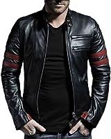 V4M Men's Stripe Rider Biker Genuine Leather Jacket