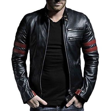 91f29d996 V4M Men's Stripe Rider Biker Genuine Leather Jacket